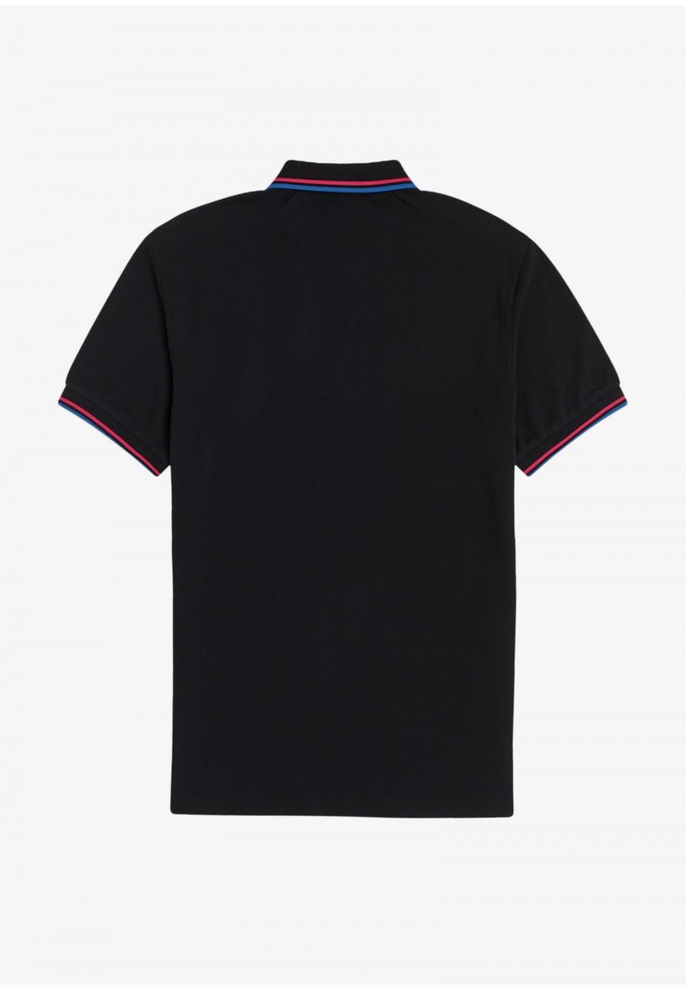 Черное поло с контрастными полосками