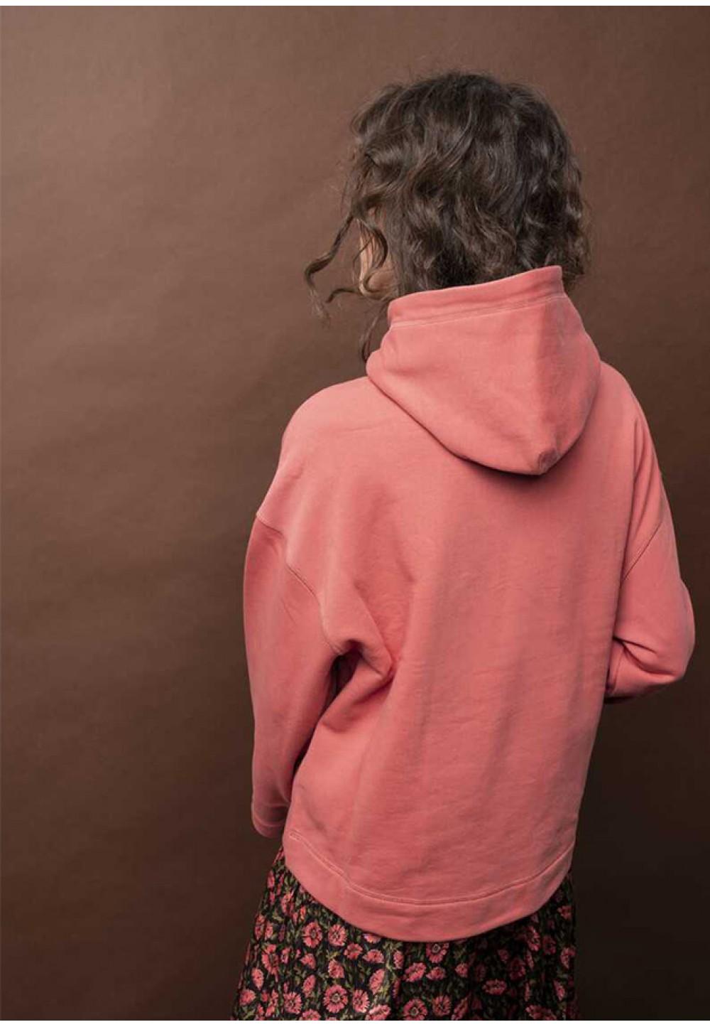 Розовый свитшот с капюшоном