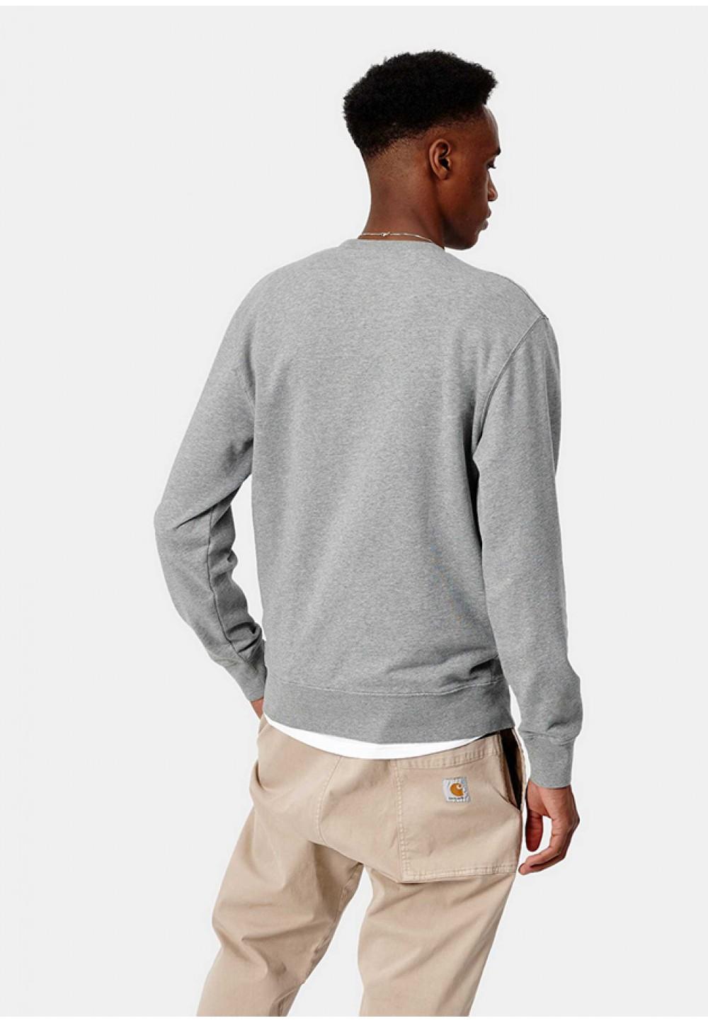 Стильный серый свитшот с логотипом на груди