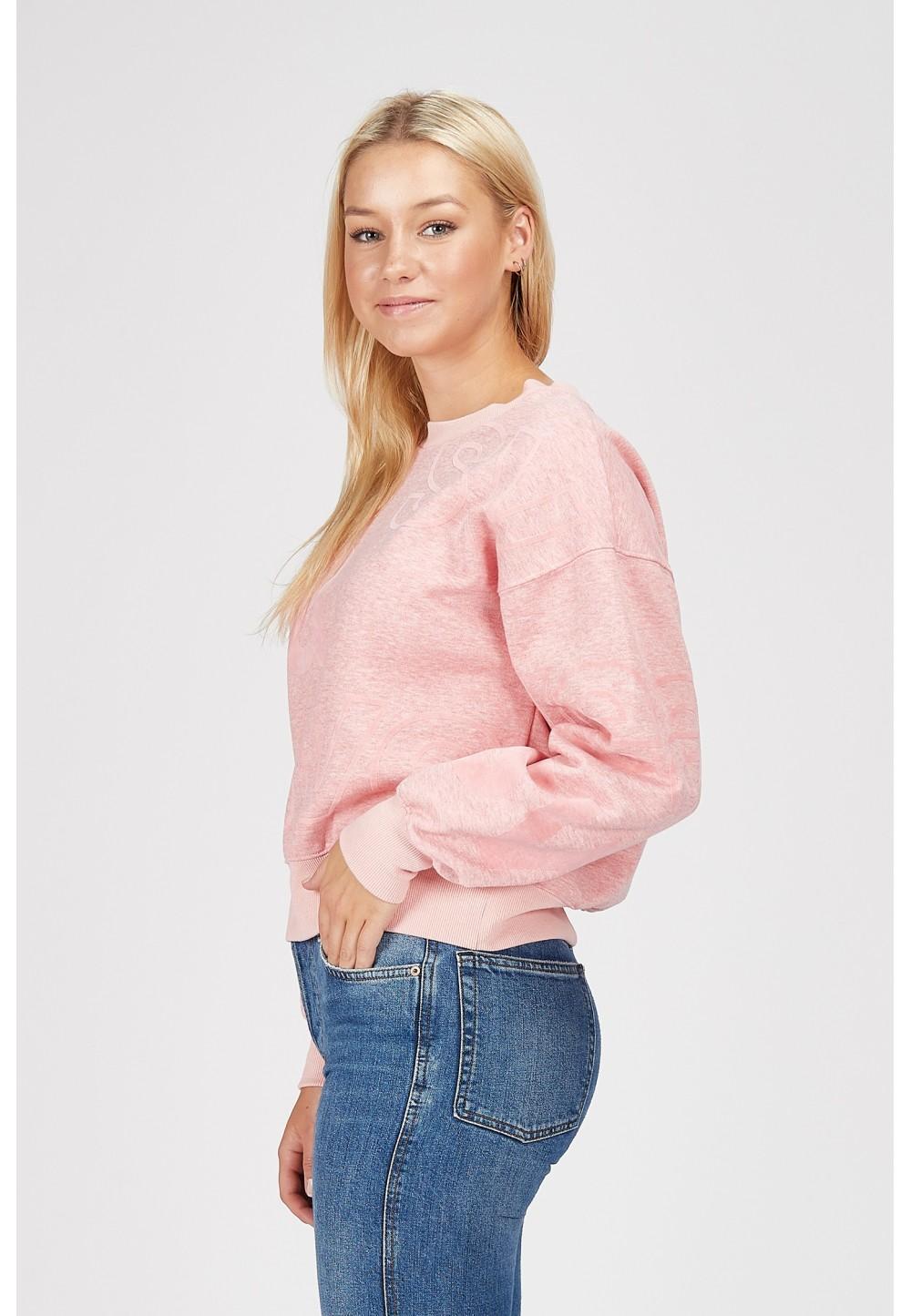 Розовый мягкий свитшот с фирменным логотипом